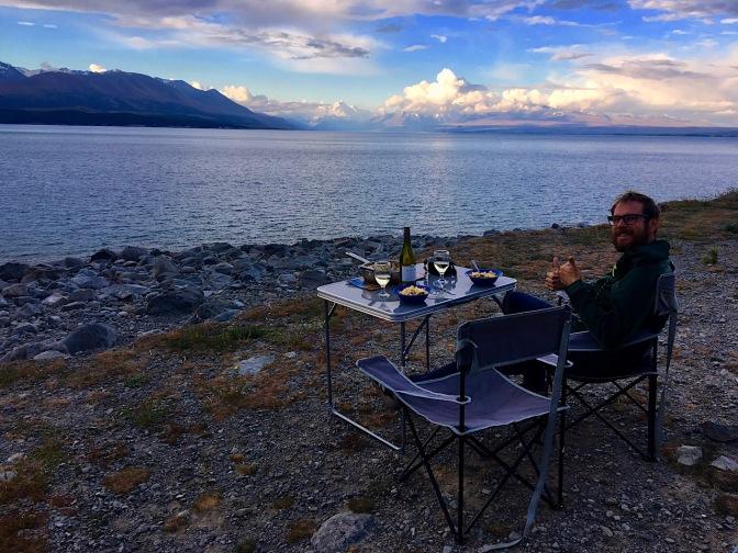 Abendessen mit Blick auf den Aoraki